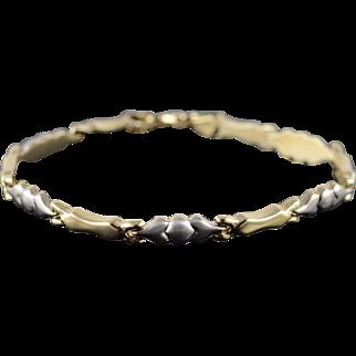 """14K Hollow Fancy Link Bracelet 6.9"""" Yellow Gold"""