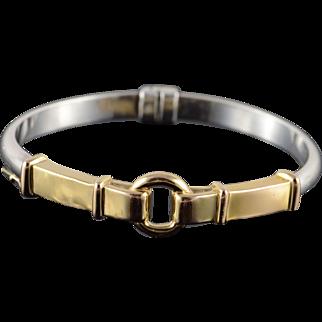 "925/14K Two Tone Belt Buckle Bangle Bracelet 2.5"" Yellow Gold"