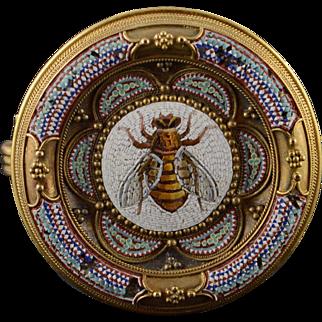 18K Victorian Micro Mosaic Bumblebee Pin/Brooch Yellow Gold