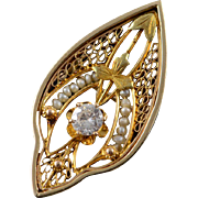 14K Victorian 0.23 CT Diamond Seed Pearl Filigree Pin/Brooch Yellow Gold