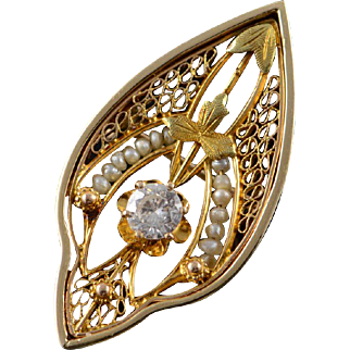14K Victorian 0.23 CT Diamond Seed Pearl Filigree Pin/Brooch Yellow Gold