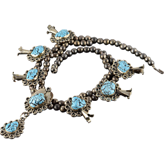 """Silver Turquoise HUGE Squash Blossom Necklace 19.75"""""""