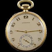 14K Longines Vintage 1940's 17 Jewel Pocket Watch  Yellow Gold