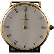 14K Vintage Movado 34mm Mechanical 17 Jewel Wrist Watch  Yellow Gold