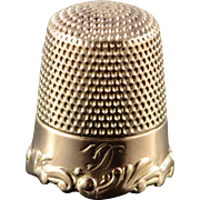 10K Victorian Leaf Accented Thimble  Yellow Gold