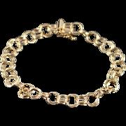 "14K Heavy 7.1mm Multi Link Charm Bracelet 7.25"" Yellow Gold"