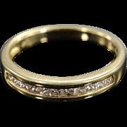 14K 0.15 Ctw H/SI Princess Cut Diamond Wedding Band Ring Size 6.75 Yellow Gold