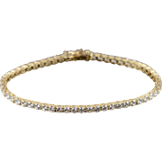 "14K 5.50 CTW Round CZ Tennis Bracelet 7"" Yellow Gold"