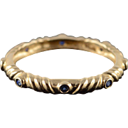 14K 0.20 CTW Sapphire Inset Fancy Wedding Band Stackable Ring Size 9 Yellow Gold