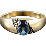 10K 1.02 CTW Blue Topaz Diamond Men's Ring Size 13 Yellow Gold