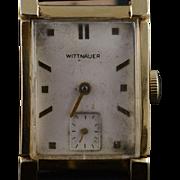 14K Vintage Wittnauer 17 Jewel Mechanical 22mm Tank Style Wristwatch  Yellow Gold
