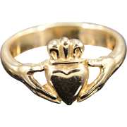 14K Claddagh Irish Love Heart Band Ring Size 5.25 Yellow Gold