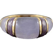 14K Purple Jade Inset Carved Ring Size 9 Yellow Gold