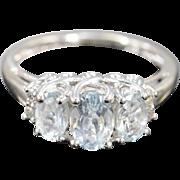 14K 2.08 Ctw Aquamarine Diamond Oval Fancy Setting Ring Size 7 White Gold