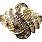 14K 3.75 CT CZ Swirl Knot Ring Size 10.25 Yellow Gold