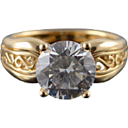 14K 3.75 CT CZ Solitaire Scroll Cut Out Travel Engagement Ring Size 8 Yellow Gold