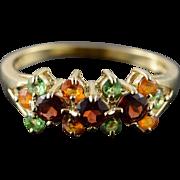 14K 1.25 CTW Citrine Peridot Garnet Fancy Ring Size 10 Yellow Gold