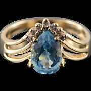 14K 1.35 CTW Blue Topaz Diamond Pear Ring Size 6.5 Yellow Gold