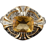 14K 3.50 CTW Citrine Diamond White Accent Ring Size 8 Yellow Gold