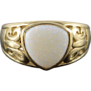14K 1.50 Ct Trilliant Opal* Scroll Design Ring Size 9 Yellow Gold