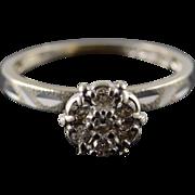 10K 0.10 CTW Diamond Cluster Engagement Ring Size 5.25 White Gold