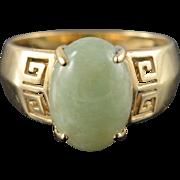 14K 14x10mm Green Jade Greek Key Cabochon Ring Size 9.25 Yellow Gold