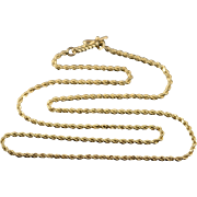 """14K Rope Link Twist Chain Necklace 18.25"""" Yellow Gold"""