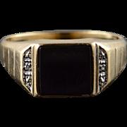 10K 9x9mm Black Onyx Diamond Inset Ring Size 10 Yellow Gold