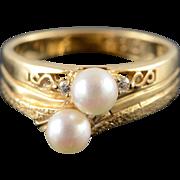 14K 5mm Pearl Diamond Ring Size 7.25 Yellow Gold