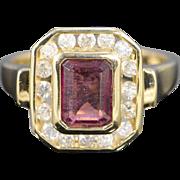 14K 1.95 Ctw Pink Tourmaline Diamond Halo Designer Ring Size 7 Yellow Gold