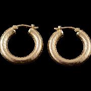 14K Hollow Hoop Tube Twist Earrings Yellow Gold
