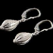 14K Hollow Ornament Diamond Cut Dangle Earrings White Gold