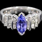 14K 1.25 Ctw Tanzanite Marquise Diamond Steps Ring Size 8 White Gold