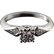 14K Retro Vintage 0.15 CTW Diamond Engagement Ring Size 5.75 White Gold