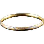 """14K 6.1mm Criss Cross Tri Color Accented Hollow Bangle Bracelet 2.5"""" Yellow Gold"""