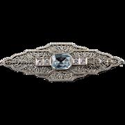 14K Art Deco 1.90 CTW Aquamarine Diamond Filigree 52x16mm Bar Pin/Brooch White Gold