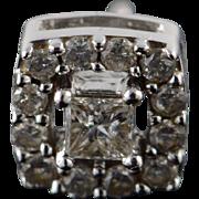 10K 0.25 CTW Princess Cut Diamond Round Halo Single Earring Stud  White Gold
