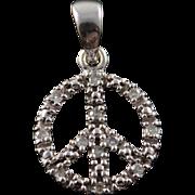 10K 0.06 CTW Diamond Encrusted Peace Sign Hippie Cut Out Charm/Pendant White Gold