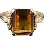 14K 5.00 CTW Yellow Citrine Solitaire Ring Size 6.75 Yellow Gold