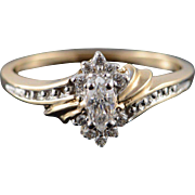 10K 0.50 CTW White CZ Marquise Diamond Inset Engagement Ring Size 8 Yellow Gold