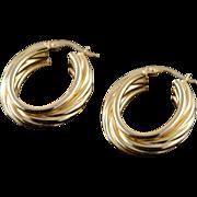 14K 28x8mm Hollow Twist U Hoop Earrings Yellow Gold