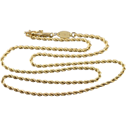"""14K 1.9mm Rope Link Twist Chain Necklace 16.25"""" Yellow Gold"""