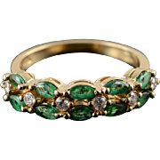 14K 1.20 CTW Emerald Diamond Patterned Wedding Band Ring Size 6 Yellow Gold
