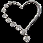 14K 0.20 CTW Diamond Heart Outline Charm/Pendant White Gold