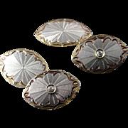 14K 1950's Diamond Fancy Engraved Cuff Links White Gold
