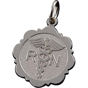 14K Registered Nurse RN Medical Circle Charm/Pendant White Gold