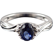 10K 0.78 CTW Sapphire Diamond Woven Engagement Ring Size 6.75 White Gold