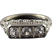 18K Art Deco 1.00 CTW Mine Cut White Sapphire Filigree Wedding Band Ring Size 8.25 White Gold
