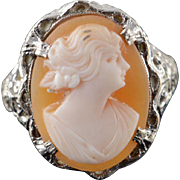 10K 1960's 16x12mm Carved Cameo Woman Filigree Ring Size 6.75 White Gold