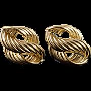 14K 22x15 Hollow Twist Hoop Stud Earrings Yellow Gold